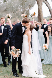 Bride and Groom kissing in Florida wedding