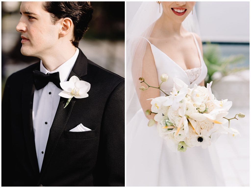 Summer & Josh | Jacksonville Wedding Planner, modern bouquet, anthurium, orchid bouquet.